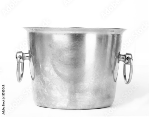 Metal bucket for champagne isolated on white background