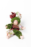 Doll harlequin isolated on white background poster