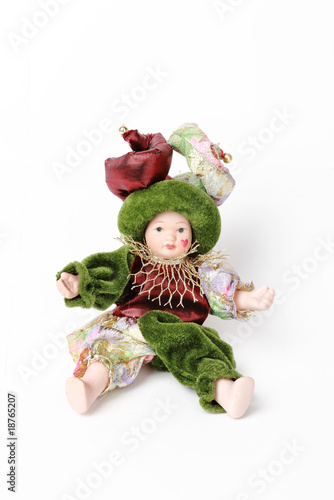 Doll harlequin isolated on white background