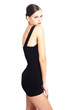 natural brunette girl wearing a black short dress