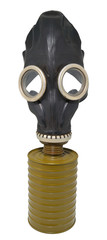 black gas mask.