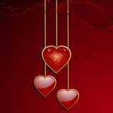 red valentine heart pendants poster