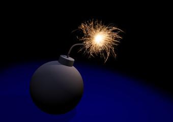 Bomb fuse burning