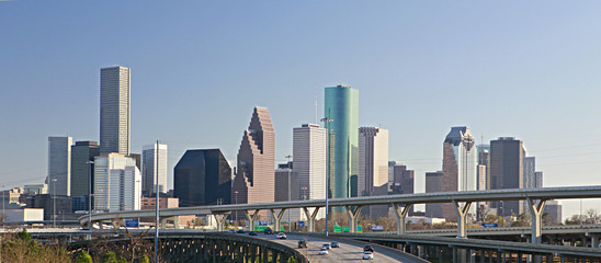 Intersection of Interstate I-10 and I-45 with the Houston skylin