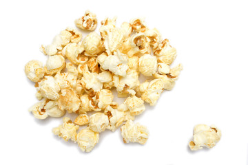one salted pop corn background, texture, isolated