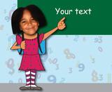 Rentrée des classes - jeune fille devant un tableau vert poster
