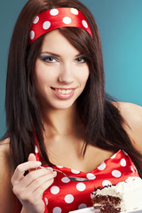 Beauty pin-up female with the cake