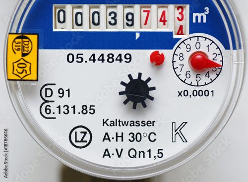 Leinwanddruck Bild Wasserzähler - Wasseruhr - water counter