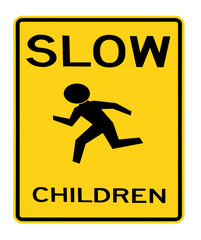 road sign - slow children