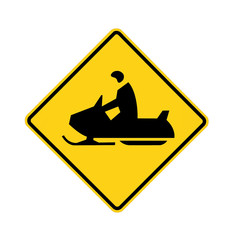 road sign - snowmobiler white on green, isolated