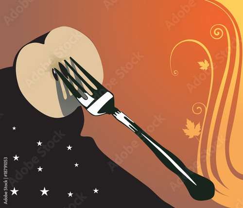 apple slice in fork in floral background