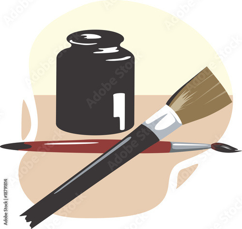 Illustration of brushed and paint pot