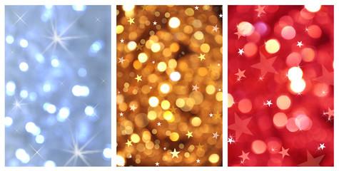 Triptyque de fond à paillettes et étoiles