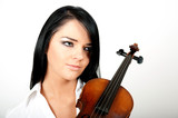 Young sexy musician woman with violin