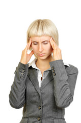Business woman with strong headache isolated on white
