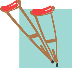 Illustration of a two crutches with red cushion