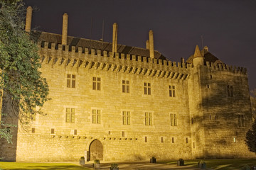 Night view of Paço dos Duques de Bragança palace, in Guimarães P