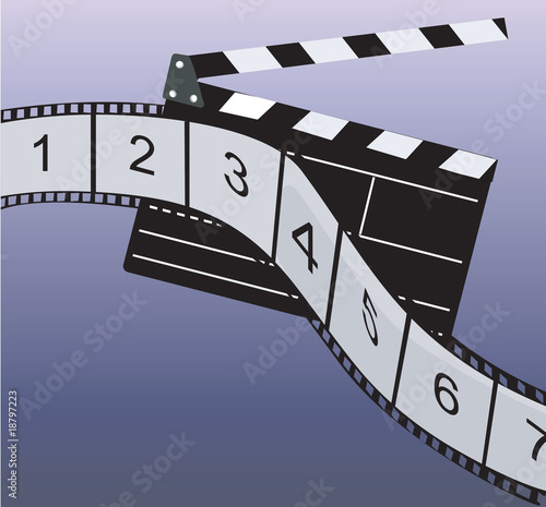 Illustration of film roll and clap