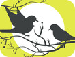 Illustration of two silhouettes of doves in sun