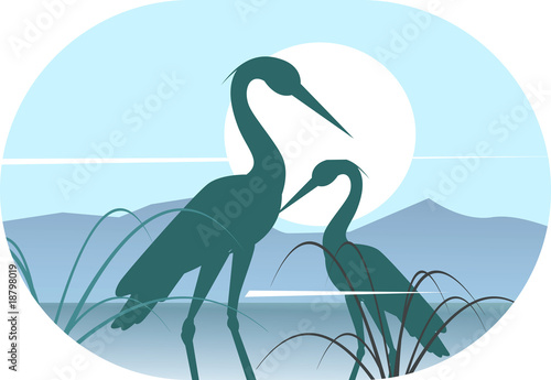 Illustration of silhouettes of two cranes on sunlight