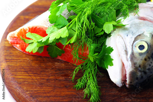 Trout head with parsley
