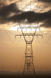Powerlines with setting sun poster