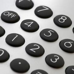 close-up of a silver calculator