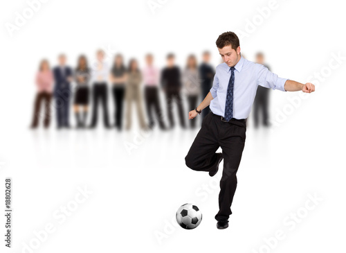 business man with a football