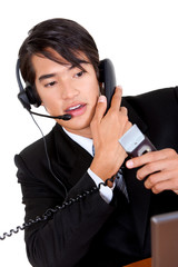 Busy telemarketing representative