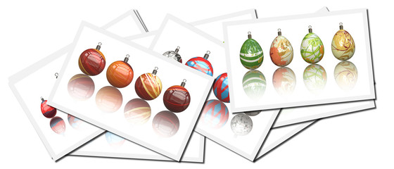 Collection of postcards with Christmas Balls