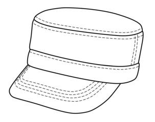 Outline military cap vector illustration