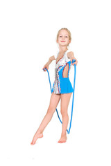 young girl with sport rope posing over white