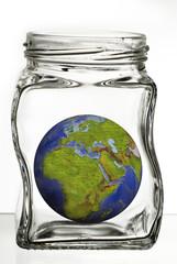 globo terrestre in barattolo di vetro
