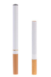 Electronic cigarette compared to real one poster