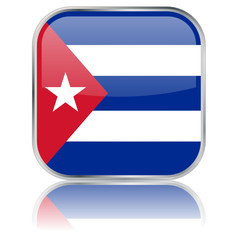 Cuban Square Flag Button (Cuba - vector with reflection)