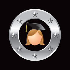 cartoon graduate girl in silver star circle