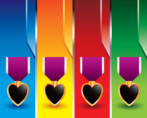 medals on vertical colored banners