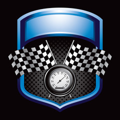 racing flags and speedometer blue display