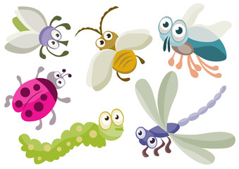 Cartoon insects.Vector illustration.