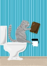 Vektor-Illustration von Katze Lesebuch über WC