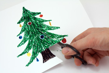 cut paper a Christmas tree