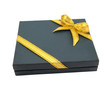 dark blue gift box packed with golden ribbon