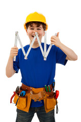 Kid as construction worker isolated on white background