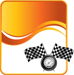 racing flags and speedometer orange wave background