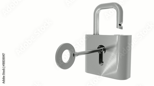 Metal padlock unlocked with key animation