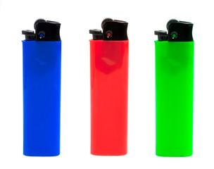 red, green and blue lighters