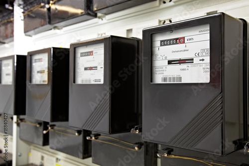 Leinwanddruck Bild mehrere Stromzähler