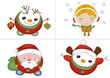 Xmas icons isolated with santa, snowman, girl, vector