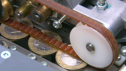 Euro coins in a counting machine