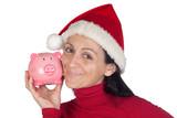 Beautiful girl in Christmas loving moneybox poster